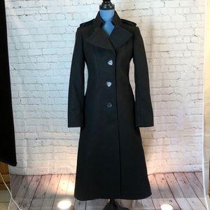 Via Spiga black wool trench-style coat